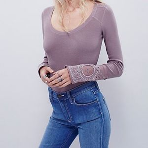 Free People Embroidered Long Sleeve Tee